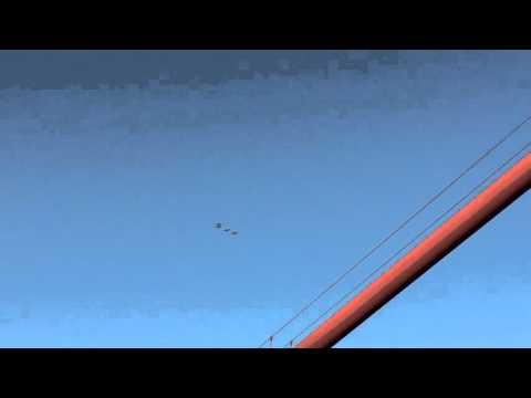 Jets while on bikes on the Golden Gate Bridge
