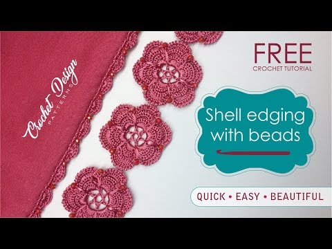 Free Crochet Border Tutorial: Shell Edging Stitch with Beads