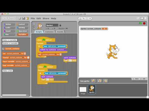 Scratch: Making a sprite turn left and right