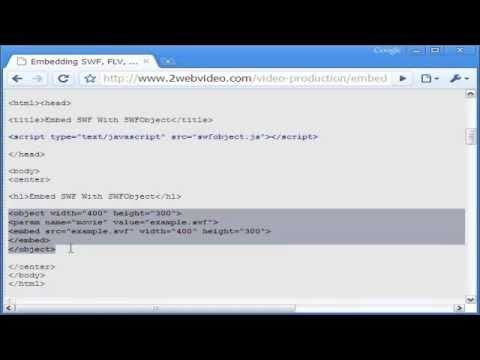 Embed Codes For SWF, FLV, MP4 Videos In Any Webpage