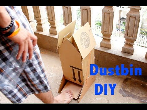 How to Make Open Dustbin with Cardboard at Home DIY [tutorial]