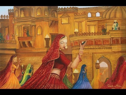 Figurative Rajasthani Folk Dancers Oil Painting tutorial by Goutami Mishra