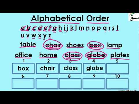 Arrange Words in Alphabetical Order (by 1st letter/activities)