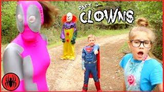 Scary Killer Clowns Chase Part 2 Superhero Kids