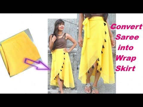 Convert/Re-Use/Recycle Old Saree into Up-down Wrap Skirt only in 5 Minutes