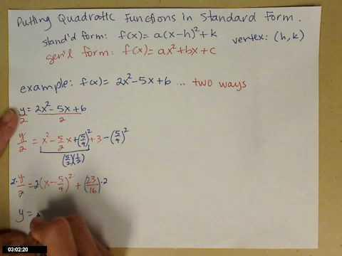 Quadratic function in standard form