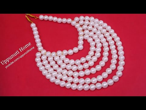 How To Make Designer Pearls Necklace At Home | DIY | Pearls Jewelry Making | Uppunuti Home