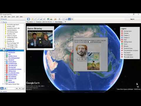 Google Earth Pro 7.3.1.4507 with HTML area with iframe, legend annotations