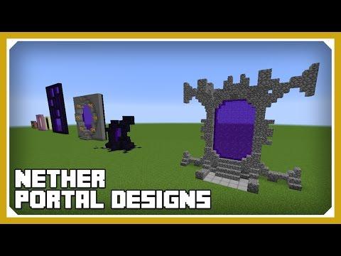 Minecraft: How To Build Nether Portal Designs Tutorial (Survival Minecraft Building)