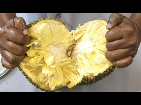 Super Fast JACKFRUIT Cutting Village Style || Latex(Gum) off of a Knife , Hand 100%