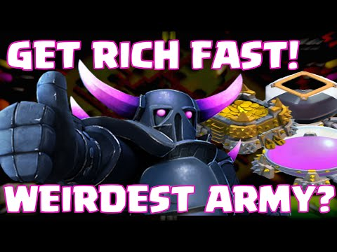 Clash Of Clans How To Get Rich Quick / Fast Loot | WEIRDEST ATTACK STRATEGY | BEST FARMING ARMY (?)