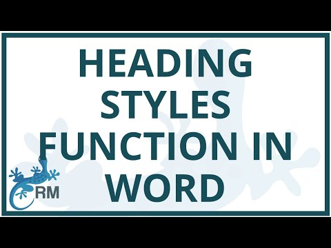 Word: using the heading styles function for your headings in Word