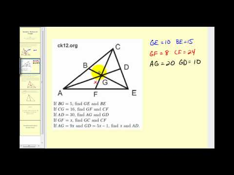 Examples:  Using the Properties of the Medians of a Triangle to Solve for Unknown Values