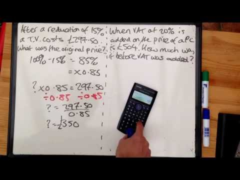 Tudor Hall Maths Number reverse percentage increase and decrease to find original amount
