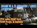 Nissan 4.0L v6 VQ40DE Emissions locations: PCV, EVAP syst