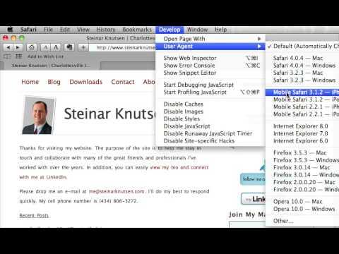 Safari iPhone Simulator mobile phone user preview