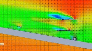 Biplane In Ground Interference Test Setup - SolidWorks Flow Simulation