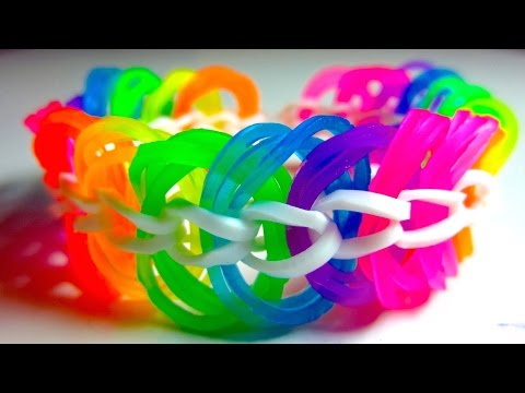 Rainbow Loom Bracelet Triple Link Chain without Loom/ with Two Pencils EASY