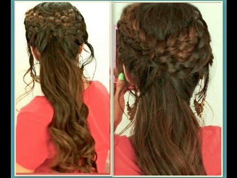 ★GRECIAN BRAID HAIRSTYLES HAIR TUTORIAL FOR MEDIUM LONG HAIR | CURLY PONYTAIL UPDOS FOR SCHOOL