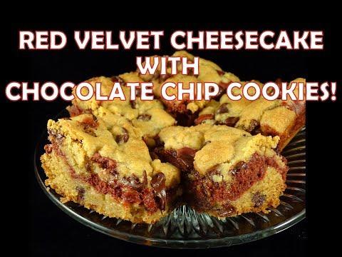 Red Velvet Cheesecake  Stuffed Chocolate Chip Cookie Bars -with yoyomax12