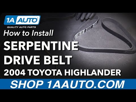 How to Install Replace Serpentine Drive Belt 2001-07 Toyota Highlander L4 2.4L