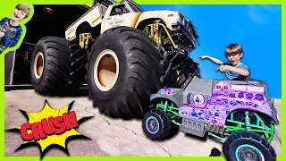 POWER WHEELS GRAVE DIGGER MONSTER TRUCK CRUSHED BY REAL MONSTER TRUCK