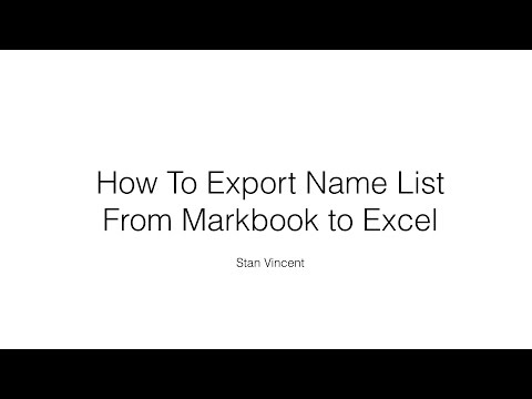 Exporting Namelist from Mark book to a Text File and then into Excel