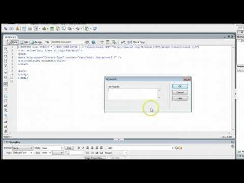 How To Edit Meta Keywords & Description in Adobe Dreamweaver