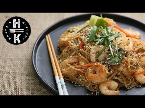 Thai sesame king prawn noodles