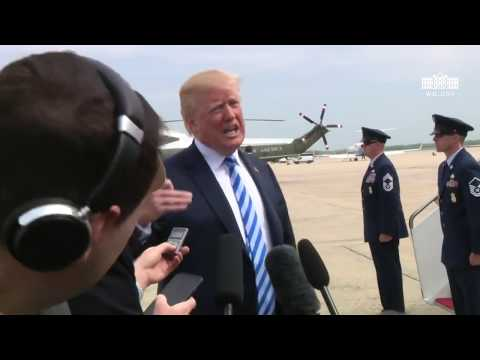 President Trump Makes a Statement Prior to Boarding AirForce One