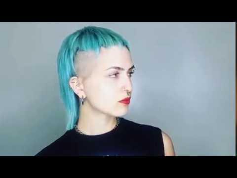 PUNK ROCK CELEBRITY HAIRSTYLE - NATALIE DORMER MEETS RIHANNA SIDECUT TURQUOISE HAIR