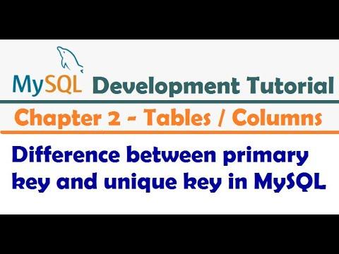 Difference between primary key and unique key in MySQL  - MySQL Developer Tutorial