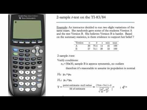 2-Sample t-Test (TI-83 & TI-84)