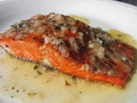 Pan SEARED SALMON w/ LEMON BUTTER SAUCE Recipe - How to make SEAR SAMON Tutorial