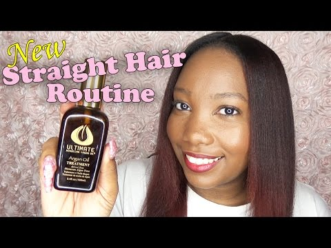 How To: Straightening My Natural Hair | Ultimate Moroccan Argan Oil | LongHairPrettyNails