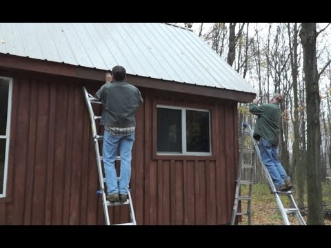 Installing aluminum fascia on the off grid guest cabin - 11-2-2013