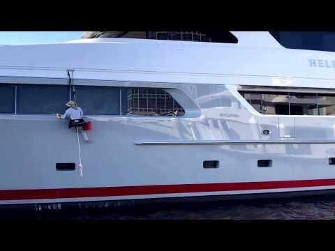 Yacht Glass Window Polishing MY Helios
