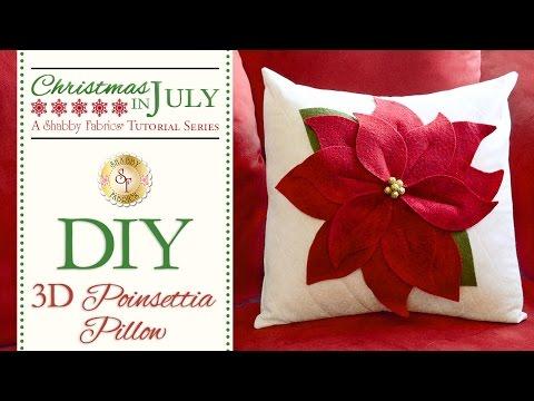 DIY 3-D Poinsettia Pillow | a Shabby Fabrics Craft Sewing Tutorial