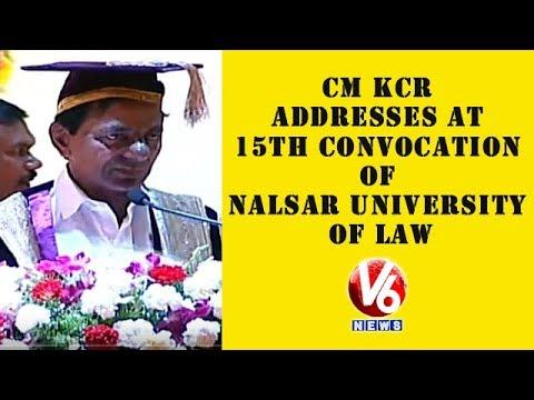 CM KCR Addresses At 15th Convocation Of NALSAR University Of Law | Hyderabad | V6 News