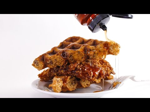 Rachael's Cornflake-Fried Chicken and Waffles with Pecans