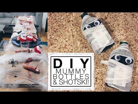How To Make Mummy Bottles & Halloween Shot Plank | misscamco