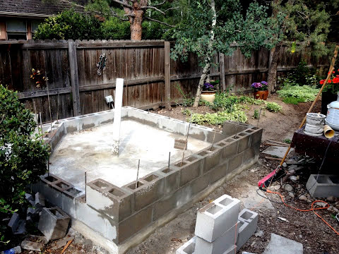 DIY concrete and cinder block pond