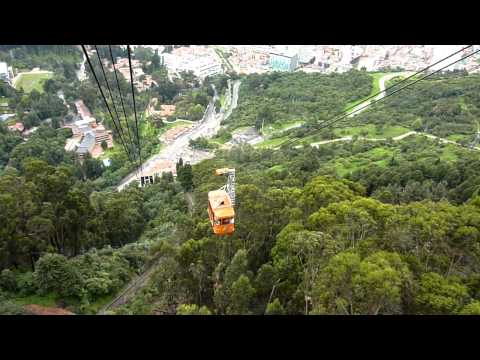 Cable car ride down the Monserrate Hill, Bogota, Colombia