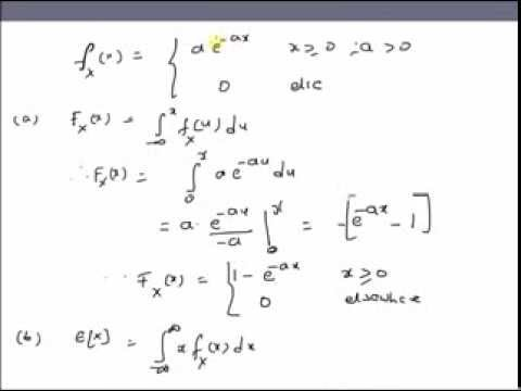 Exponential Random Variable: CDF, mean and variance