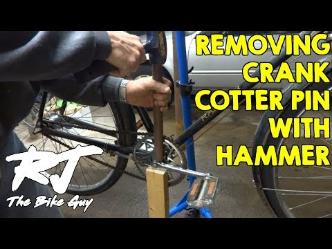 How To Remove Stuck Crank Cotter Pin With A Hammer On Vintage Bike