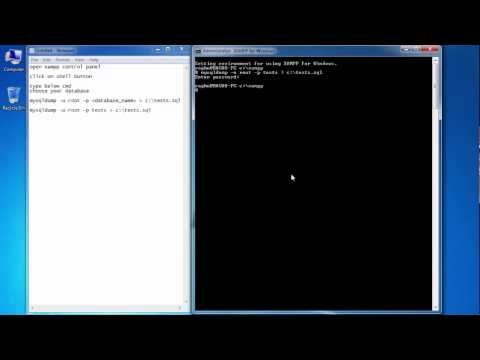 mysqldump using xampp server shell in localhost