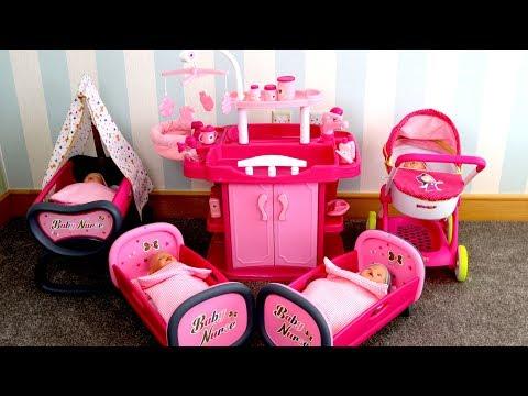 Baby Dolls Nursery Center Unboxing Set Up - Nursery Toy w/ Wardrobe Change Table Highchair