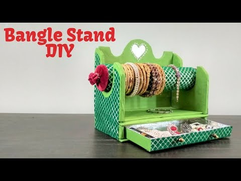 Easy Best Out of Waste Craft Idea | Cardboard Box Bangles Stand | Recycled Craft | Bangles stand DIY