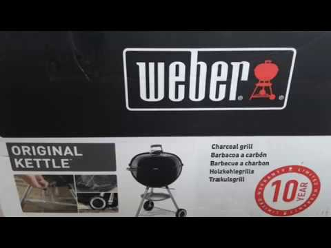 WEBER Original Kettle 22-inch Charcoal Grill Unboxing & Assembly w/ Full Instruction Manual 741001