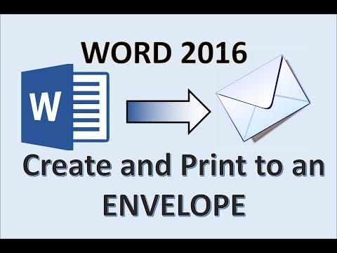 Word 2016 - Create an Envelope